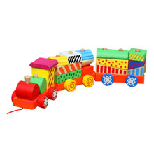 2015 colorful wooden toy pull train sets Manufacturer