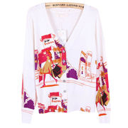 2015 spring and autumn city pattern, printed knitted cardigan from Meimei Fashion Garment Co. Ltd