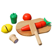 2015 colorful play wooden fruit cutting set