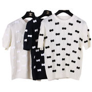 High-quality fashion short-sleeved hand-knitted sweater top with 400 butterfly knots from Meimei Fashion Garment Co. Ltd