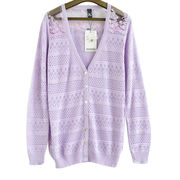 New spring/summer women's thin knit cardigan, long hollow out design with white lace yarn from Meimei Fashion Garment Co. Ltd