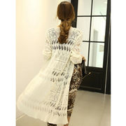 Lady's long knitted cardigan with hollow-out design, fashion and basic from Meimei Fashion Garment Co. Ltd