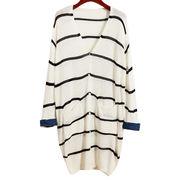Women's long cardigan with strip pattern loose casual design from Meimei Fashion Garment Co. Ltd