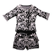 New fashion women's knit vintage style twin sets with raised pattern