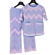New fashion knitted twin set for lady, with waved and gradients design from Meimei Fashion Garment Co. Ltd