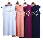 New design of 2015 women's sleeveless knitted dress with embroidery from Meimei Fashion Garment Co. Ltd