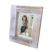 Distressed white wood photo frame, available in various sizes