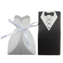 China Wedding Favor Dress and Tuxedo Bride Candy Box