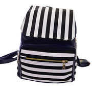 Hong Kong SAR Children's shoulder bags, black and white streak zipper pocket in the front bag, customized accepted