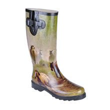 Horse Printed Rubber Rain Boots, Rubber Upper, Rubber Sole, Size 36-41, OEM Welcomed