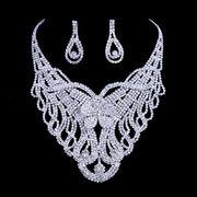 Big Alloy Rhinestone Wedding Dress Silver Chokers Manufacturer