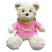new plush beige teddy bear with pink clothes , made of soft plush and PP padding filling, for promo