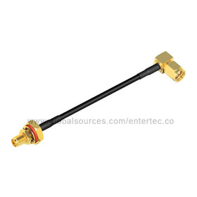 RG174 RF Cable Assembly, Female SMA S/T Bulkhead Jack to Male SMA R/A Plug from EnterTec Technology Inc.