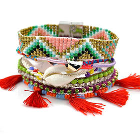 Fashion Bracelet with Small Colorful Beads, Shells and Rhinestones, Hanging with Red Tassels
