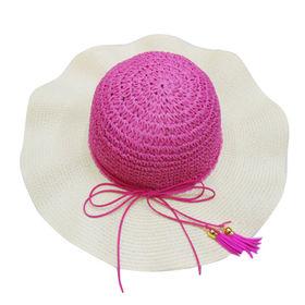 Wide Brim Straw Hat, Hand Crochet Crown, with Suede Threads and Tassel Trims