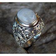 Wholesale Silver rings motif patra bali carving stone rainbo, Silver rings motif patra bali carving stone rainbo Wholesalers