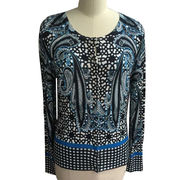 Women's allover printed cardigan, made of 70% viscose and 30% nylon, casual and fashion