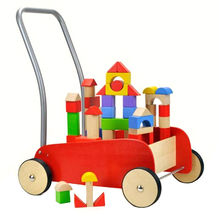 Eco-friendly wooden baby strollers with building blocks, unit measures 29.6*40*42cm