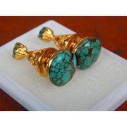 Wholesale Silver earrings Bali Stone Carving motive torquise, Silver earrings Bali Stone Carving motive torquise Wholesalers
