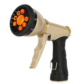 Gold Color Garden High Pressure Water Saving Hose Nozzle.Nine Pattern. Pistol Grip Front Trigger