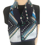 Bejeweled Plaid Silk Oblong Scarf from China (mainland)