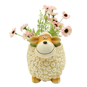 New Polyresin Cute Sheep Flower pots & Planters from China (mainland)