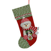 Christmas stocking with snowman and LED light