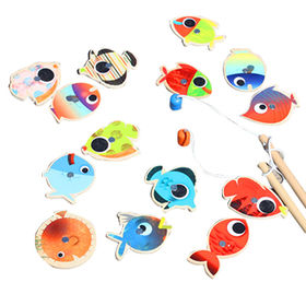2015 wooden double-pole magnetic fishing toy for children, unit measures 19*7*5cm