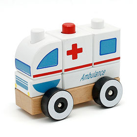 2015 Cartoon Wooden Ambulance Vehicle Toys Manufacturer