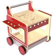 2015 pull push kid's red wooden tool cart toy
