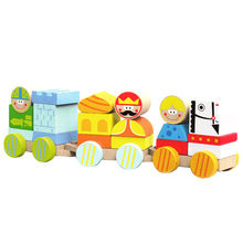 Kid's wooden blocks train toy set Manufacturer