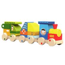 2015 colorful pull wooden blocks train toy Manufacturer