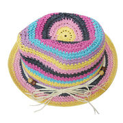Summer Beach Multicolor Paper Fedora Hat from China (mainland)