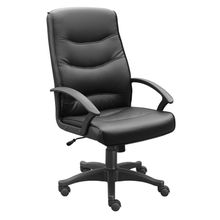 Office chair, eco-friendly PU leather, high back, high density foam, black