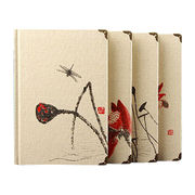 Hard cover notebook, A5 size, Fabric cover with embroidery and metal corner