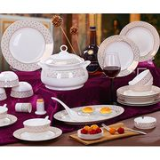 Fine Bone China 56-piece Dinnerware Set Embellished with Gold Leaf