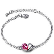 Classic Heart-shaped Gemstone Metal Alloy Bracelet from China (mainland)