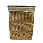 S/2 large eco-friendly willow laundry basket with lid