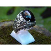 Wholesale Silver ring Motif Carving Dragon Stone Black Onyx, Silver ring Motif Carving Dragon Stone Black Onyx Wholesalers