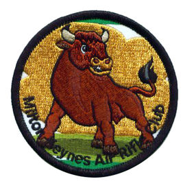 """Taiwan 3"""" Round Bull Design Embroidered Patch with Merrow Border"""