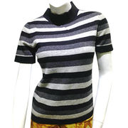 100% cashmere stripe women pullover from Inner Mongolia Shandan Cashmere Products Co.Ltd