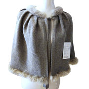 100% Cashmere Shawl with Real Fur Edge from Inner Mongolia Shandan Cashmere Products Co.Ltd