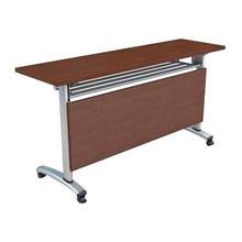 Metal leg long school desk in classroom