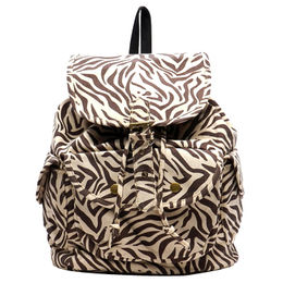 Canvas backpack,made of 100% good canvas, canvas with zebra stripe,drawstring closure