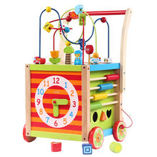 2015 hot selling wooden baby walkers with string beads box, unit size of 35*35*46cm