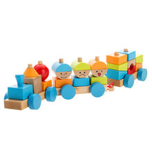 Wooden pull-shaped blocks train toy Manufacturer