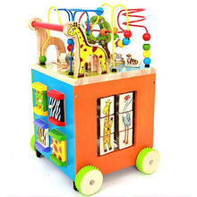2015 educational wooden baby walker with alphabet rack, unit measures 40*40*59cm