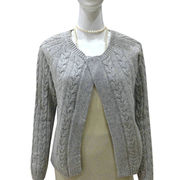 100% Cashmere women cardigan with cable from Inner Mongolia Shandan Cashmere Products Co.Ltd
