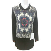 100% cashmere women pullover with printing pattern from Inner Mongolia Shandan Cashmere Products Co.Ltd