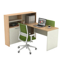 Modular office computer desk table with bookcase and cabinet